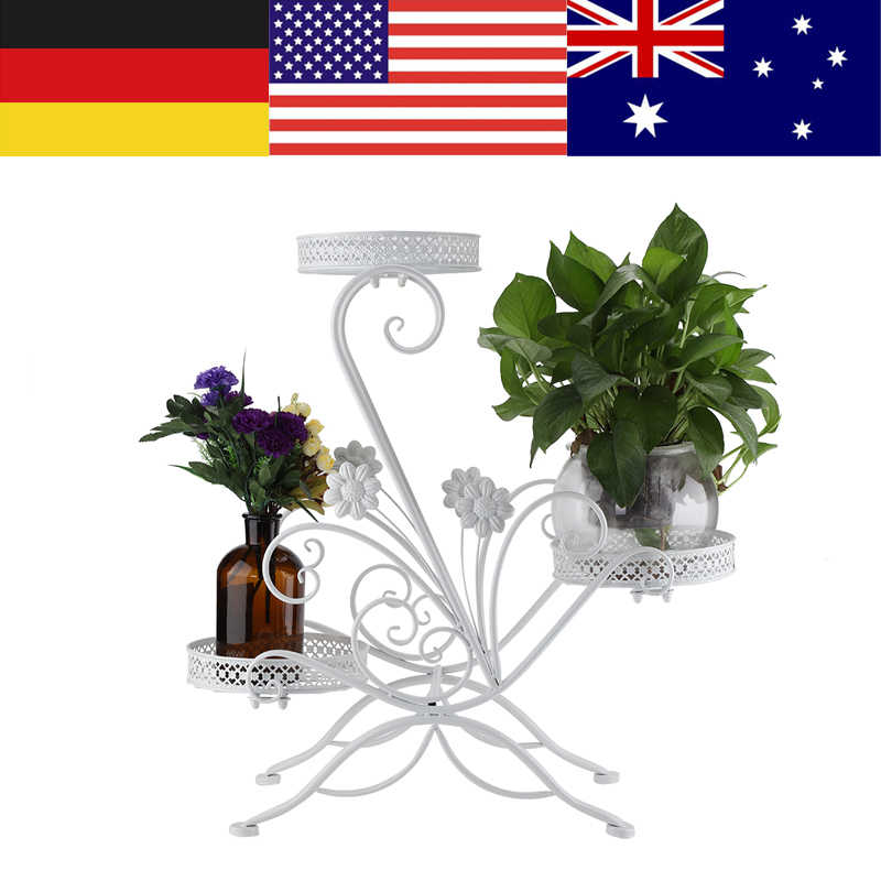 3 Tiers Iron Flower Pot Rack for Indoor Outdoor Balcony Living Room Plant Display Stand Plant Stand