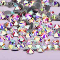 JUNAO SS 6 16 20 30 Lustro di Cristallo AB Hot Fix Strass di Vetro Flatback Ferro Sul Trasferimento di Strass Hotfix di Cristallo applique in pietra
