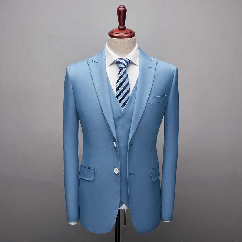 Veste + pantalon + gilet/costume Boutique hommes affaires Slim costumes ensembles robe de mariée 3 pièces costume Blazers manteau pantalon gilet