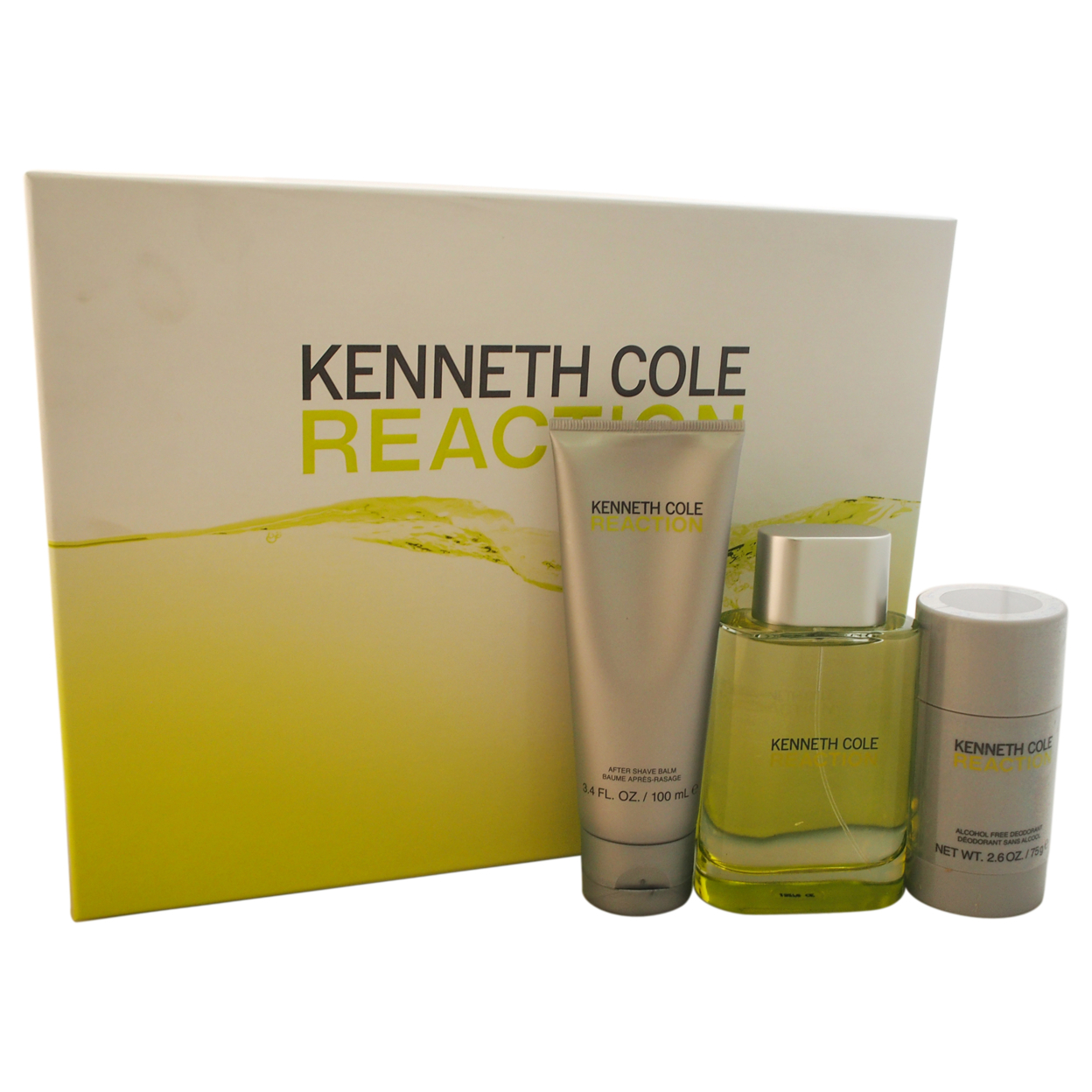 Kenneth Cole Reaction by Kenneth Cole for Men - 3 Pc Gift Set 3.4oz EDT Spray, 3.4oz After Shave Balm, 2.6oz Deodorant Stick kenneth cole reaction women s beauty in belize skirted bikini bottom
