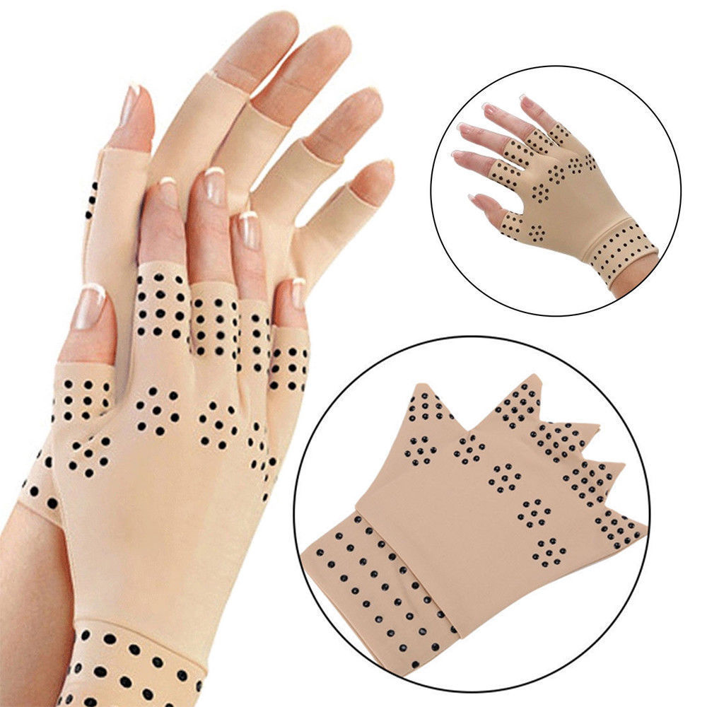 1 Pair Magnetic Therapy Fingerless Gloves Arthritis Pain Relief Heal Joints Braces Supports Foot Care Tool Latex Hand Gloves