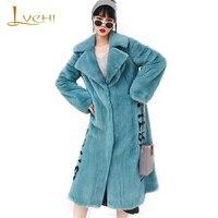 LVCHI 2019 Winter Imported purple velvet Mink Fur Coat Real Fur Coats Women Turn Down Collar Print Lettern X Long Mink Fur Coats