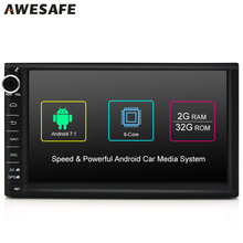 AWESAFE 2 Din Android Car Universal Multimedia DVD Player GPS Navigation RAM 2G WIFI Bluetooth RearView Camera for Toyota Skoda