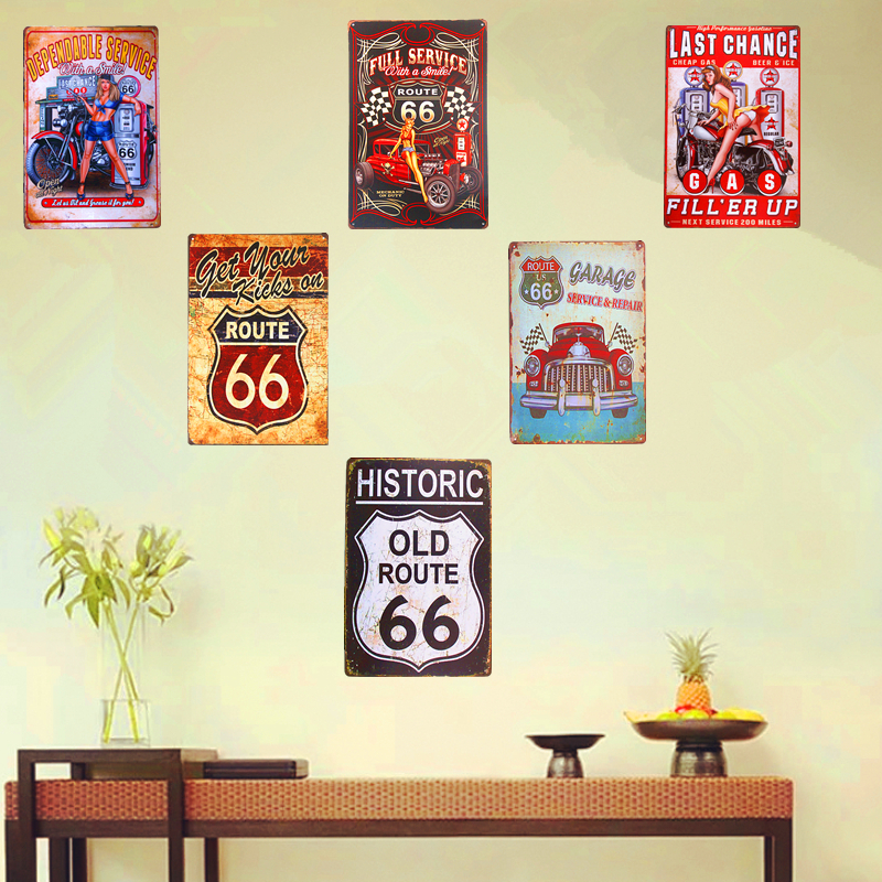 Shabby chic Metal Tin Signs Pin up Girl Route 66 Highway History Mother Road Wall Plaque Poster Garage Bar Pub iron Wall Decor