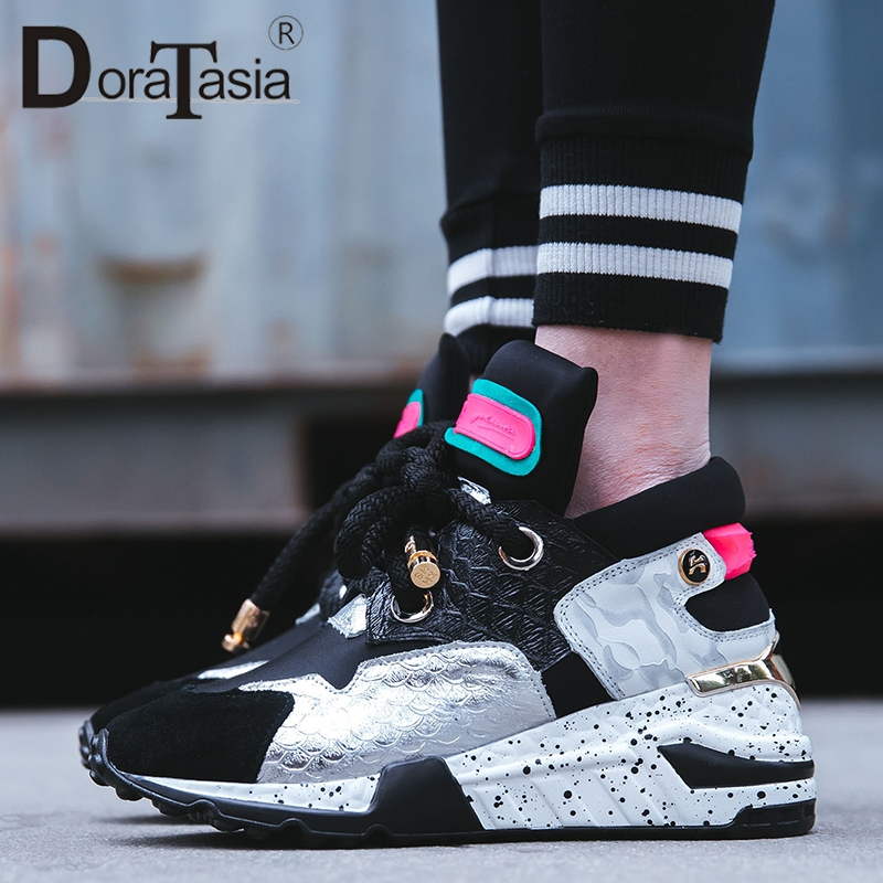 DORATASIA 2019 New INS Hot Patchwork Genuine   Leather     Suede   Sneakers Women Spring Brand Dad Shoes Women Shoes Woman 35-42