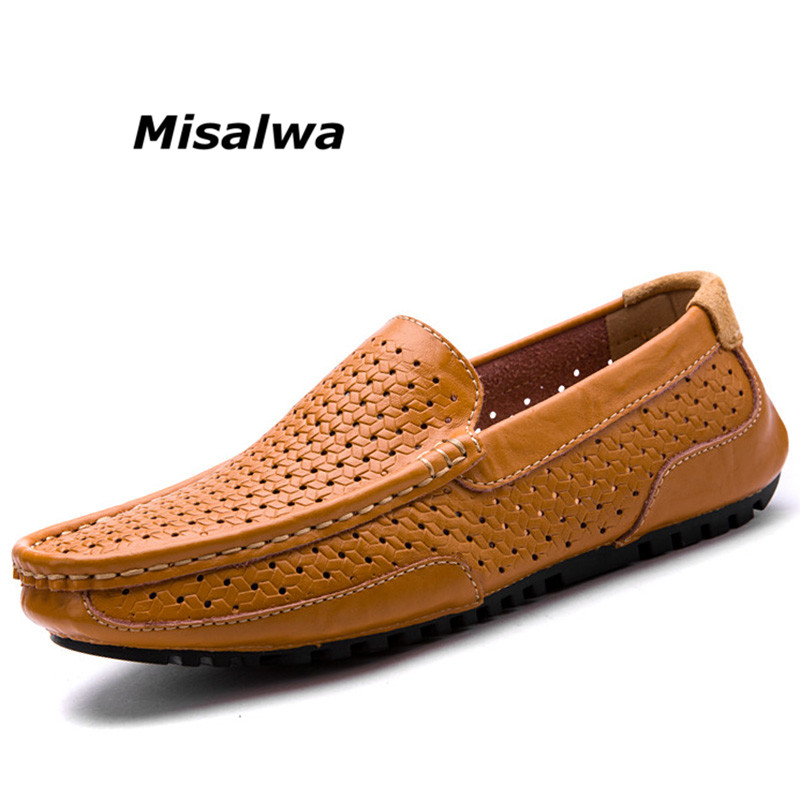 Misalwa 2018 New Summer Fashion Casual Boat Shoes Genuine Leather Breathable Slip-on Loafers Hollow Out Driving Moccasins Flats
