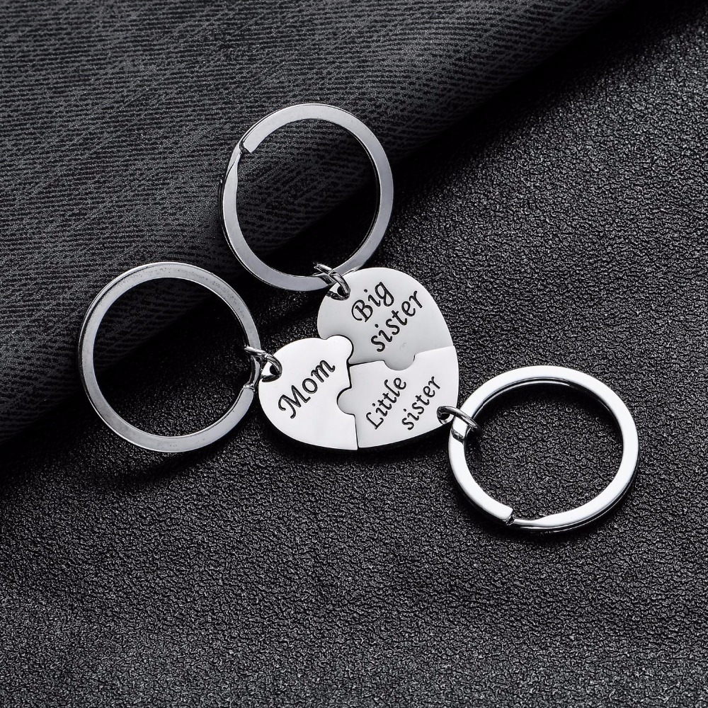 3PCS Stainless Steel Mom Big Sis Little Sis Keychains Keyrings Sets Women Gifts