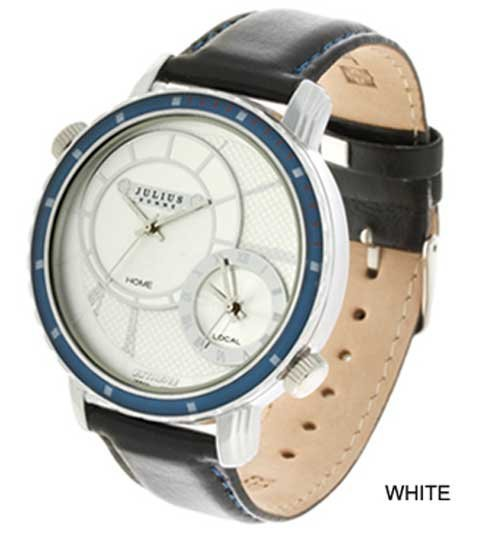 Free Shipping Julius Men's Wrist Watch Quartz Round Sport, Two Dial, Two movements leather Band JAH-014 Authentic, good quality