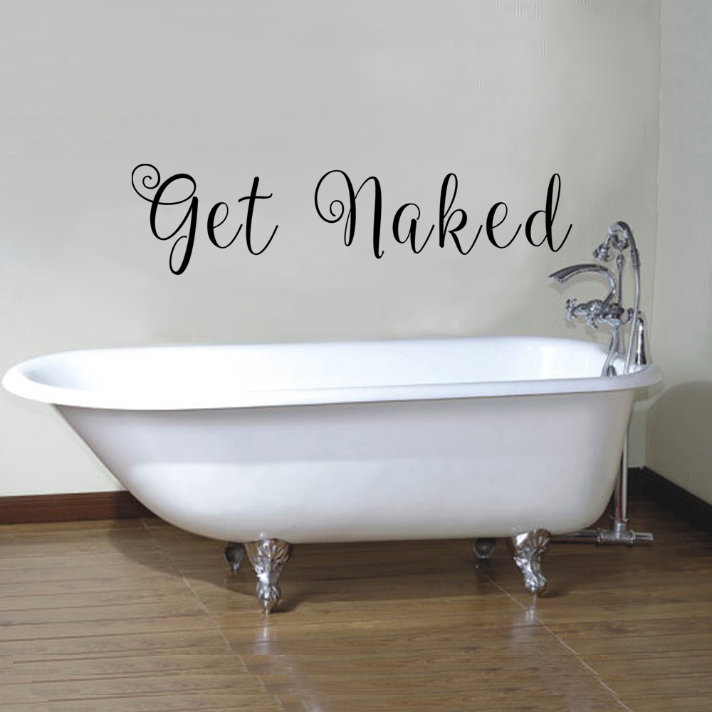 vinyl wall decal art quote get naked bathroom wall words saying 15cm x 61cmchina