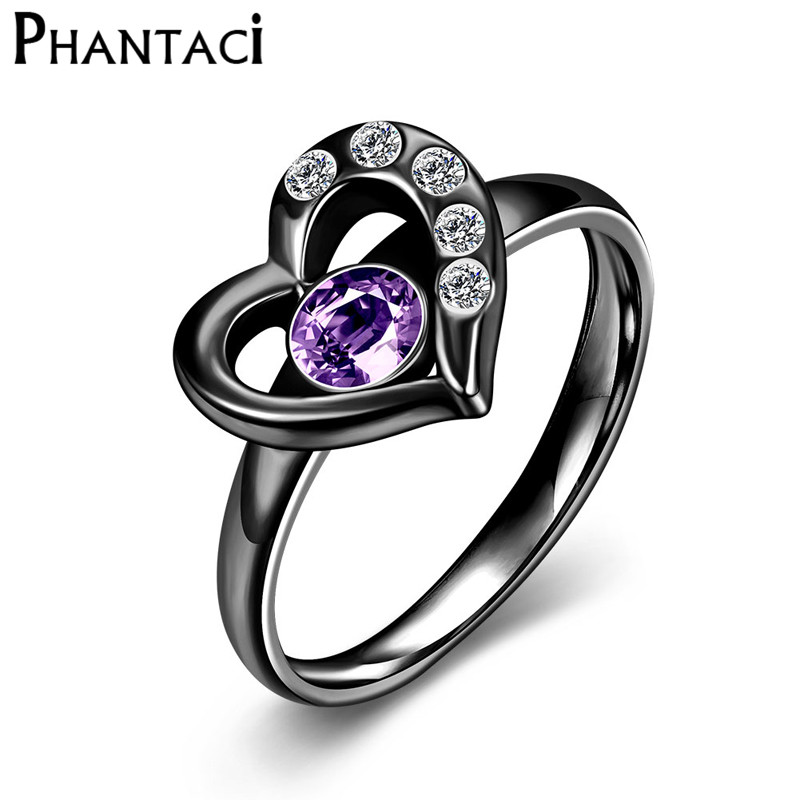Black Heart Crystal 316L Stainless Steel Wedding Rings For Women