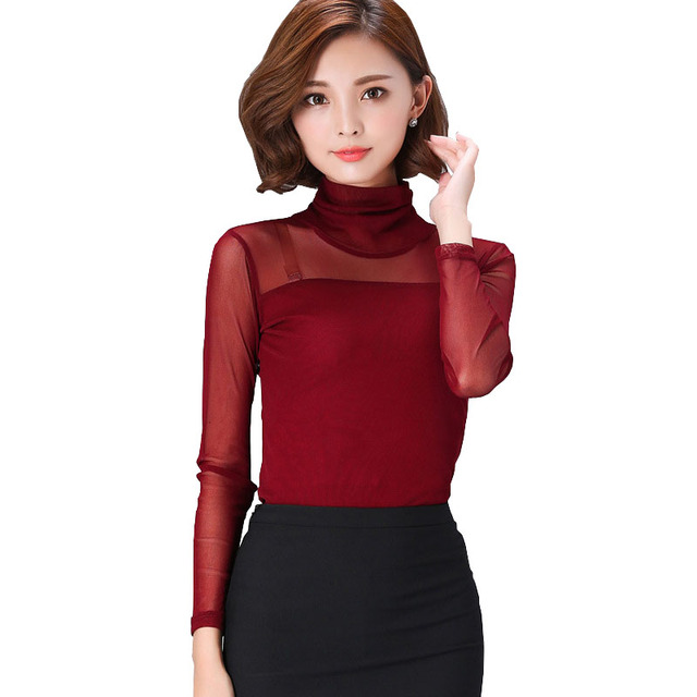 Autumn High Collar Shirts Plus Size Xxxl Female Slim Mesh Top Long Sleeve  Turtle Neck T Shirt Tulle Tshirt Blusinhas Femininas 5013c9bdd8a5