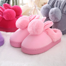 100%cotton children Slippers winter pompon Rabbit ears Slippers boys girls home shoes warm kids shoes  winter soft indoor shoes