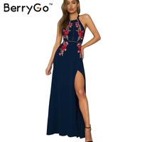 BerryGo Embroidery Halter Backless Sexy Dress Women Christmas Evening Split Long Dress Party Elegant Black Vintage