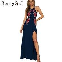 Berrygo Вышивка Холтер спинки длинное платье женские пикантные туфли на высоком сплит длинное платье 2017 рождественской вечеринки черные винтажные платье Femme