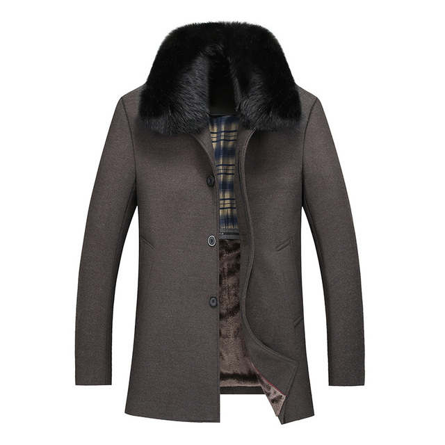 Woolen Coat Man 2017 Fashion Fur Collar Wool Jackets Wool Blends Outerwear Coat Male thick Warm Jackets Detachable Fur 128wy