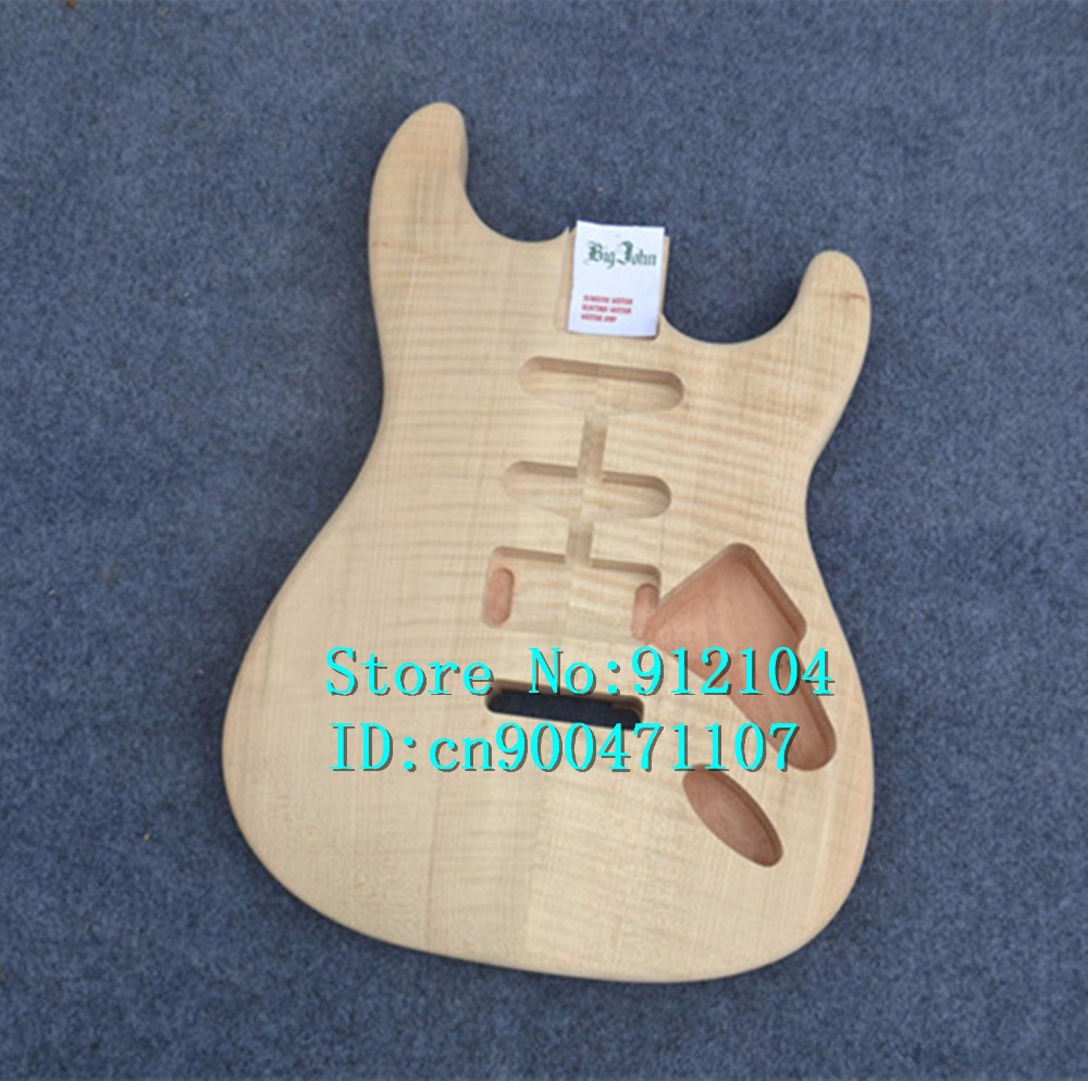 no painting new single wave electric guitar body with tiger stripes maple surface  can be customized F-3055 china oem firehawk shop guitar hot selling tl electric guitar stained maple tiger stripes maple wood color page 1