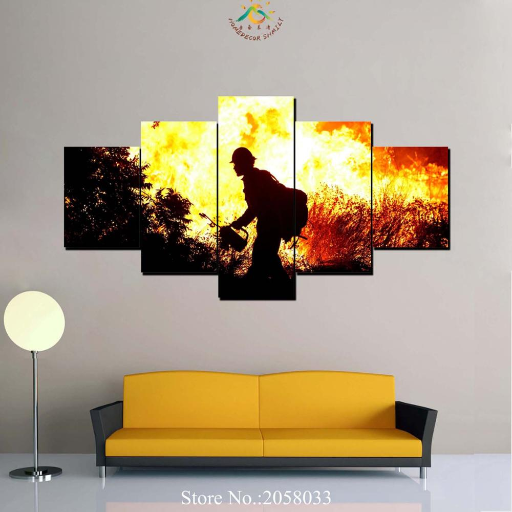 3 4 5 Pieces Firefighter Modern Wall Art Canvas Printed Painting HD ...