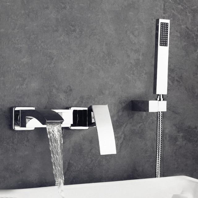Livraison gratuite mélangeur de bain cascade robinet carré de bain