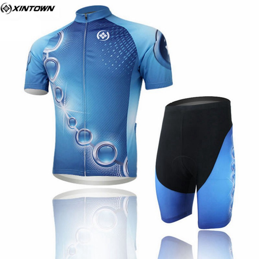 1432437bf XINTOWN Men Cycling Jersey Sets With Bib Shorts Bike Team Cycling Clothing  Outdoor Sportswear Blue Riding Clothing
