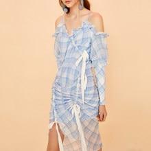 f51c7319698 NANASTYLE Plaid Dress for Women Off Shoulder V Neck Long Sleeve Draw String  Bow Asymmetrical Long Dresses 2018 Summer Sweet Blue