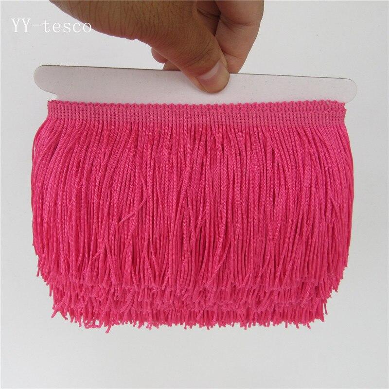 1 ярд, бахрома, отделка с кисточками, кружево, латинское платье, макраме, Самба, Одежда для танцев, кружево, полиэстер, одна полоса, ширина 10 см - Цвет: rose Red