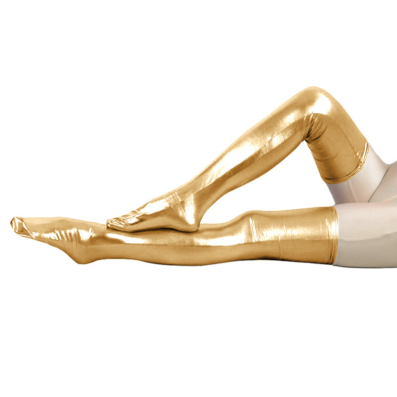 LZCMsoft 35''(89cm) Women's Shiny Metallic Spandex Thigh High Skintight Zentai Stockings Wet Look Tights Sexy Cosplay Costumes