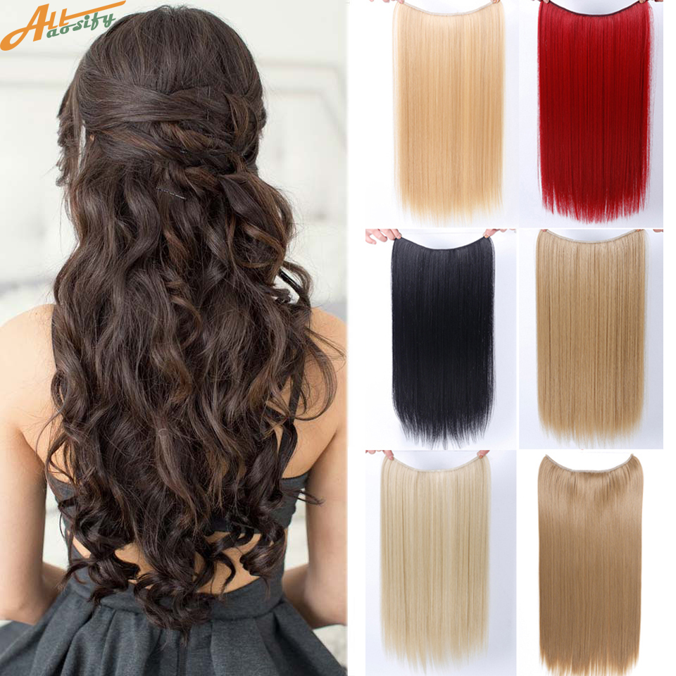 Allaosify 22 Для женщин Невидимые рыбы провода Длинные прямые Высокое Температура волокно Синтетические пряди для наращивания волос темно-кори... ...
