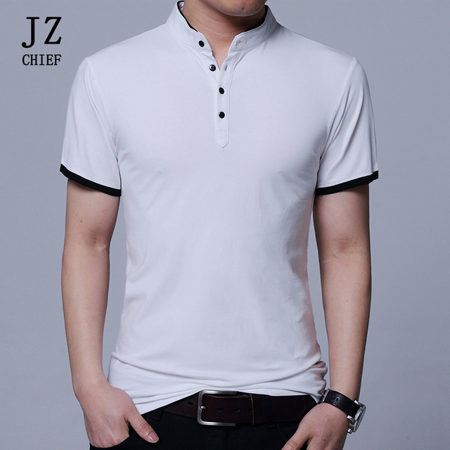 e3578b3d22 JZ CHIEF Men Polo Shirt With Short Sleeve Summer Cotton Slim Fit Solid Mandarin  Collar Polo Shirt Breathable Dry Fit Polo Shirts