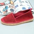 Las mujeres de Los Holgazanes Planos Zapatos Mujeres de La Moda de Paja De Lino Zapatos de Conducción Calzado Cómodo Slip-on Mujeres Pisos Alpargatas para Las Mujeres 38-42
