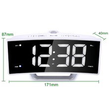 Fashion Projection Table Alarm Clock Radio LED Mirror Electronic Luminous White Table Clock Charging Display Clock Desk