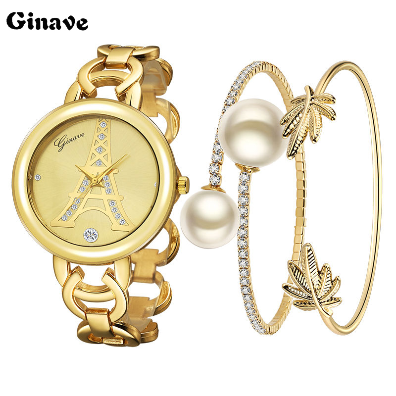New Fashion 2019 Luxury Pear Diamond Watches Women Quartz Watch For Ladies Dress Watch Gold Clock Set Relogio Feminino Montre