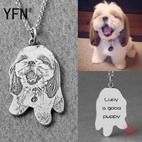 925 Sterling Silver Collier Photo Necklace Pet Silhouette Pendant With Chain Custom Engraved Jewelry High Quality PYX1266