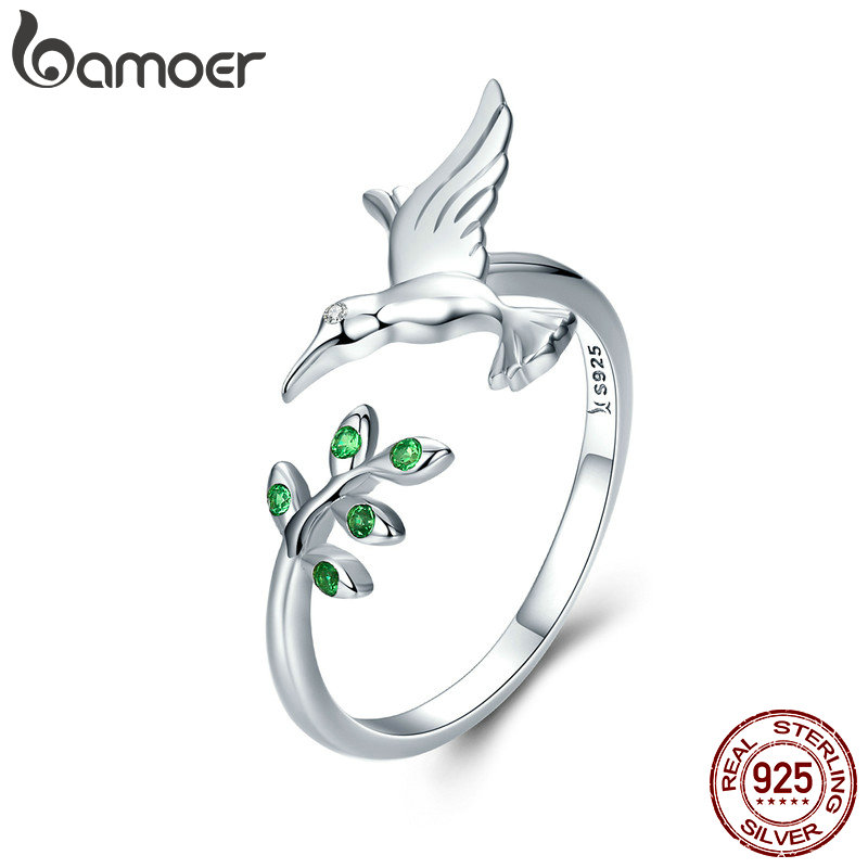 BAMOER Authentic 925 Sterling Silver Bird & Spring Tree Leaves Open Size Finger Rings for Women Sterling Silver Jewelry SCR323 mariposa en plata anillo
