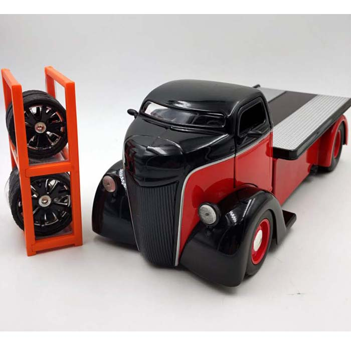 1:24 Advanced alloy Classic car pickup,high simulation Ford 1947 COE Trailer,Replace tire car collection toy vehicles,wholesale