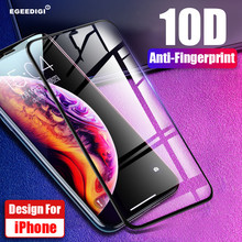 Egeedigi 9H High Quality 10D Curved Tempered Glass Film On The For iPhone X Xr Xs Max 6 6s 7 8 Plus Screen Protector iPhone7