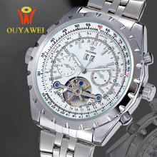 цена на 2019 OUYAWEI Men Mechanical Watches Auto Date Skeleton Automatic  Stainess Steel Steel Wristwatch waterproof Transparent Montre