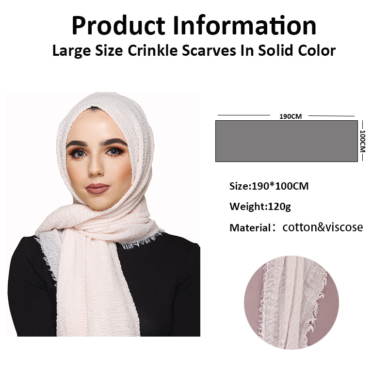 LMLAVEN Crinkled Hijab Plain Wrinkle Bubble Cotton Viscose Long Scarf Muslim Head Hijab Shawl Women Large Size Crinkle Scarves