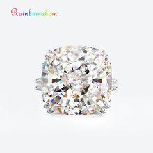 Rainbamabom Винтаж 925 пробы серебро создан муассанит драгоценный камень свадебные обручение парные ювелирные кольца вечерние