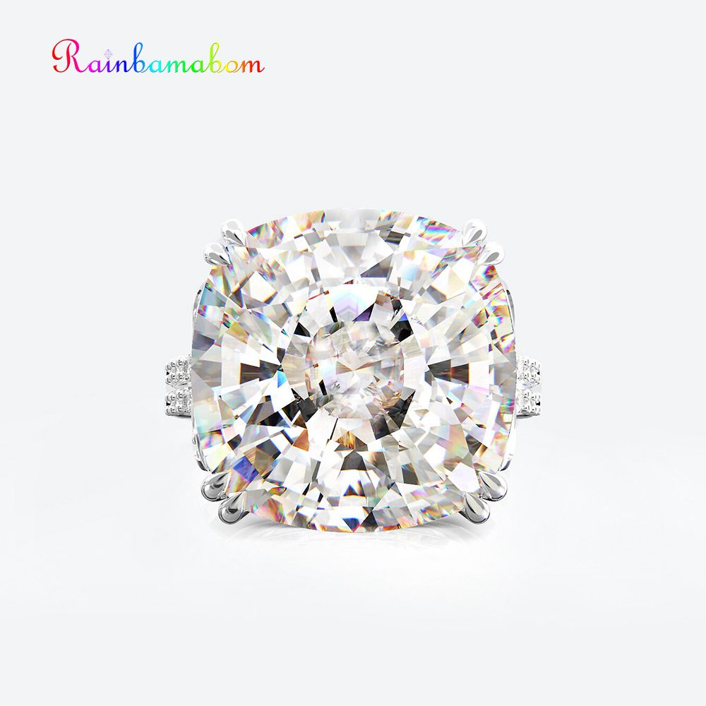 Rainbamabom Vintage 925 Sterling Silver Created Moissanite Gemstone Wedding Engagement Couple Ring Jewelry Party Wholesale