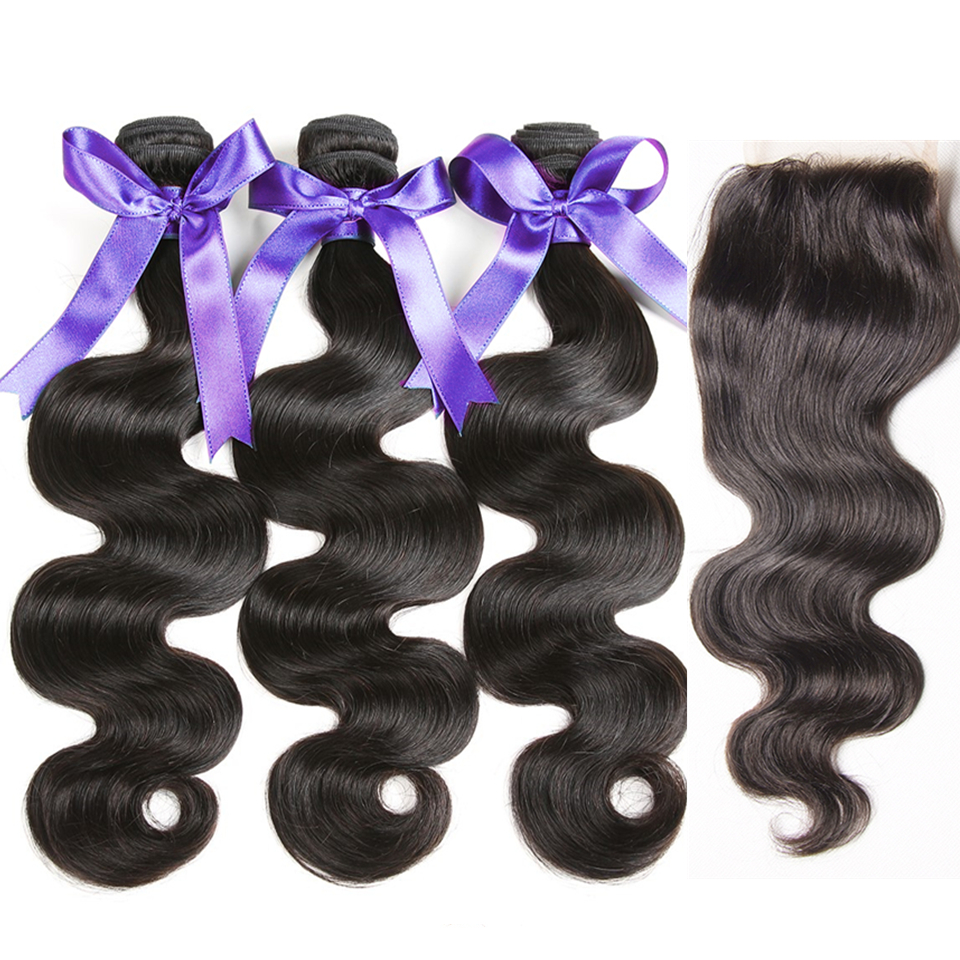 Karizma Body Wave Bundles With Closure Brazilian Hair Weave Bundles With Closure 100% Human Hair Bundles With Closure Non Remy-in 3/4 Bundles with Closure from Hair Extensions & Wigs    1