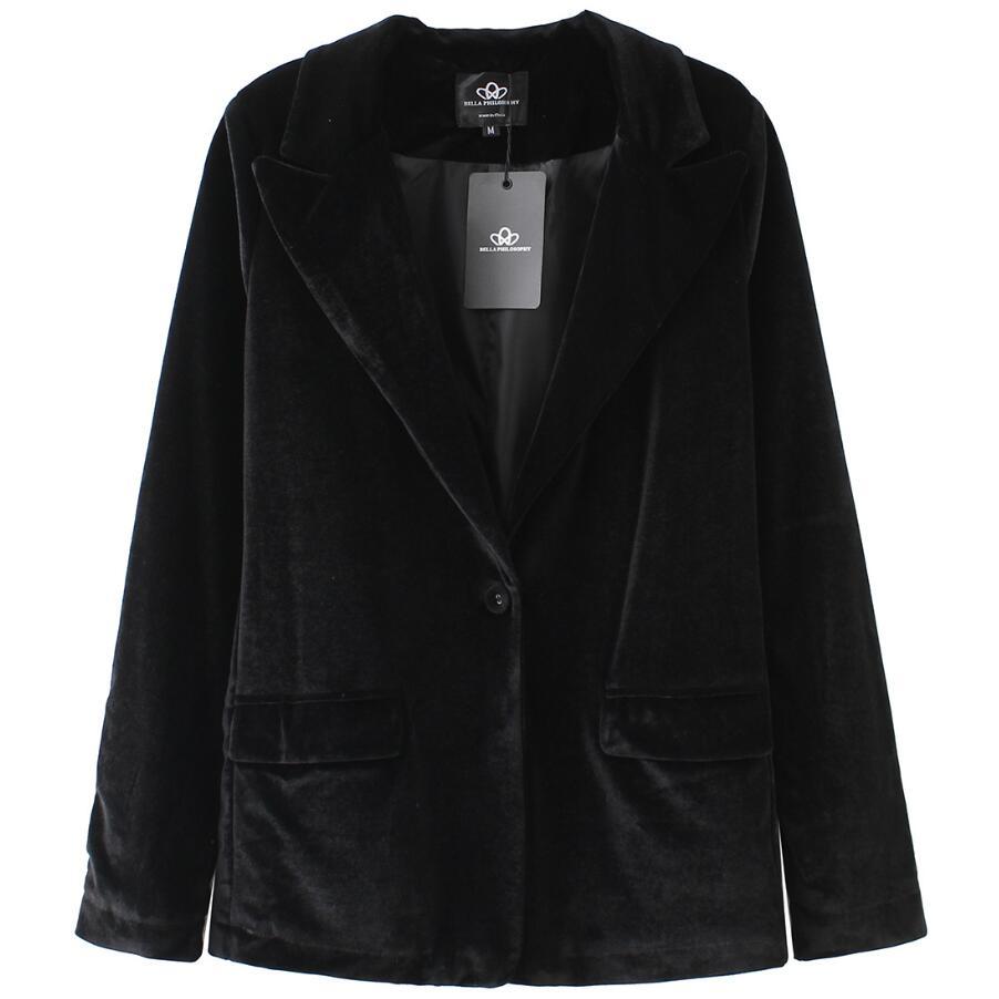 blue Velvet Warm Coat red Autumn Small 2018 2xl Jacket Button green Women One Plus Black Size Fashion Suit Blazer Ladies wzHHSIq