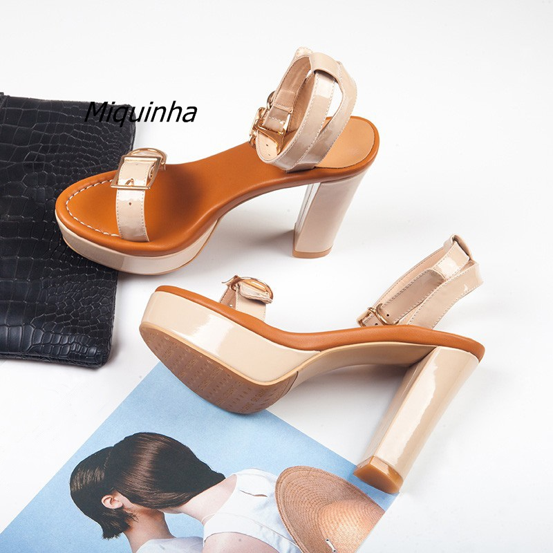 Fashion Buckle Style Block Heel Sandals Apricot Patent Leather Slingback Platform Sandals Women Delicate Chunky Heel Dress Shoes ladylike women s sandals with chunky heel and beading design