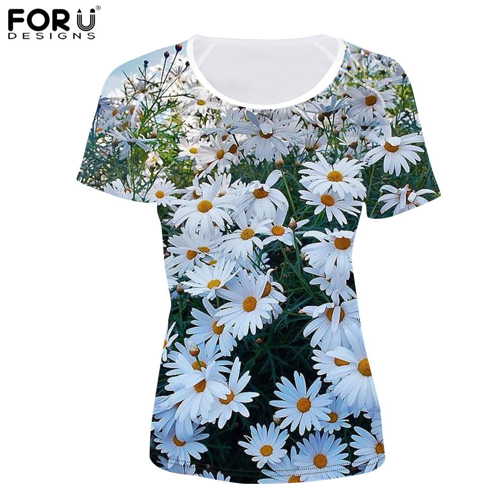 FORUDESIGNS Chamomile Flower Printing Women T Shirts Imperivious Short Sleeves Summer 3D T- Shirts Bodybulding Top Tees Girls