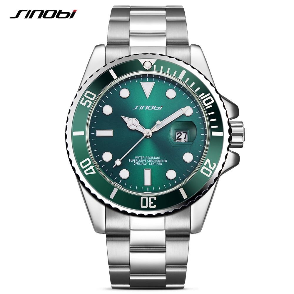 Luxury SINOBI Watch Men Rotatable Bezel GMT Stainless Steel Watches Waterproof Gold Mans Sports Quartz Watches