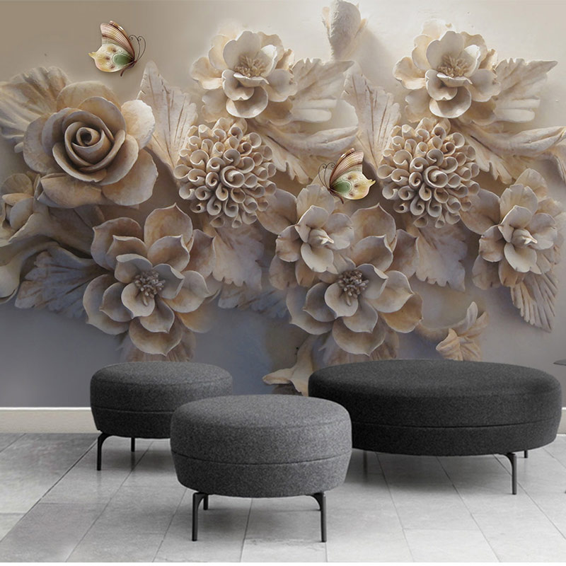 US $15.8 48% OFF|3D Flower Wall Paper Stickers Custom Photo Wallpaper Mural  Living Room Bedroom Home Decor 3 D Self Adhesive Vinyl/Silk Wallpaper-in ...