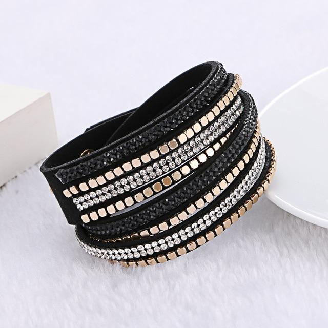 2016 Fashion Multilayer Rhinestone Slake Leather Bracelet Newest Crystal Rivet B
