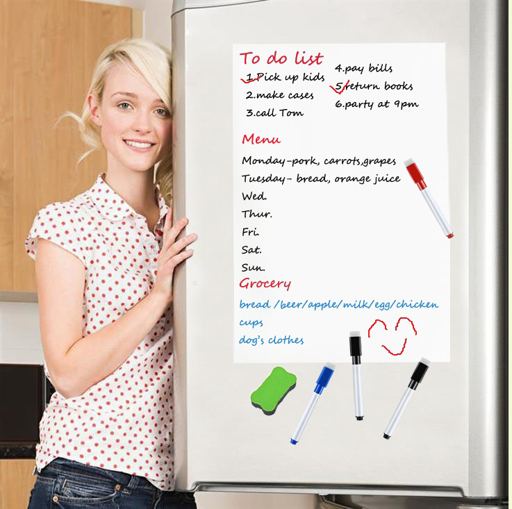 400mmx600mm Magnetic Whiteboard Fridge Magnets Erasable White Board Marker Eraser To Do List Board Grocery Menu Kitchen Planner