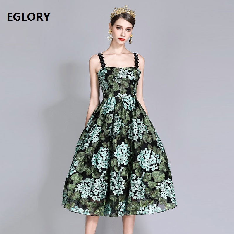 Free Shipping New Sexy Party Prom Women Dresses Summer 2018 Elegant Female Green Embroidery Flower Dress
