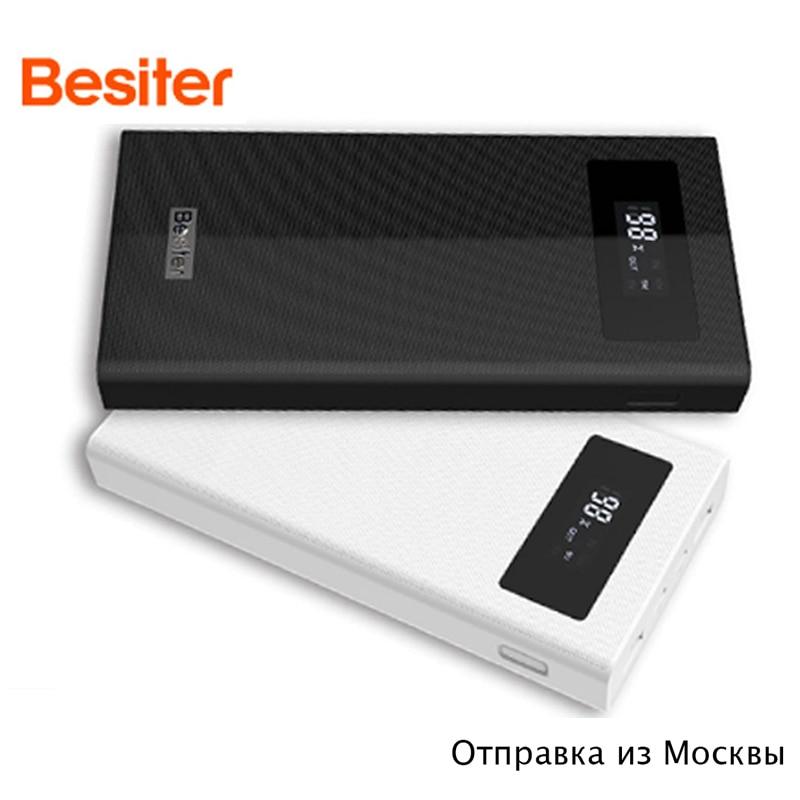 Besiter Banco Do Poder 20000 mAh originais 2 Quick Charge 3.0 PowerBank Portátil Carregador banco do poder Bateria Externa Para O telefone