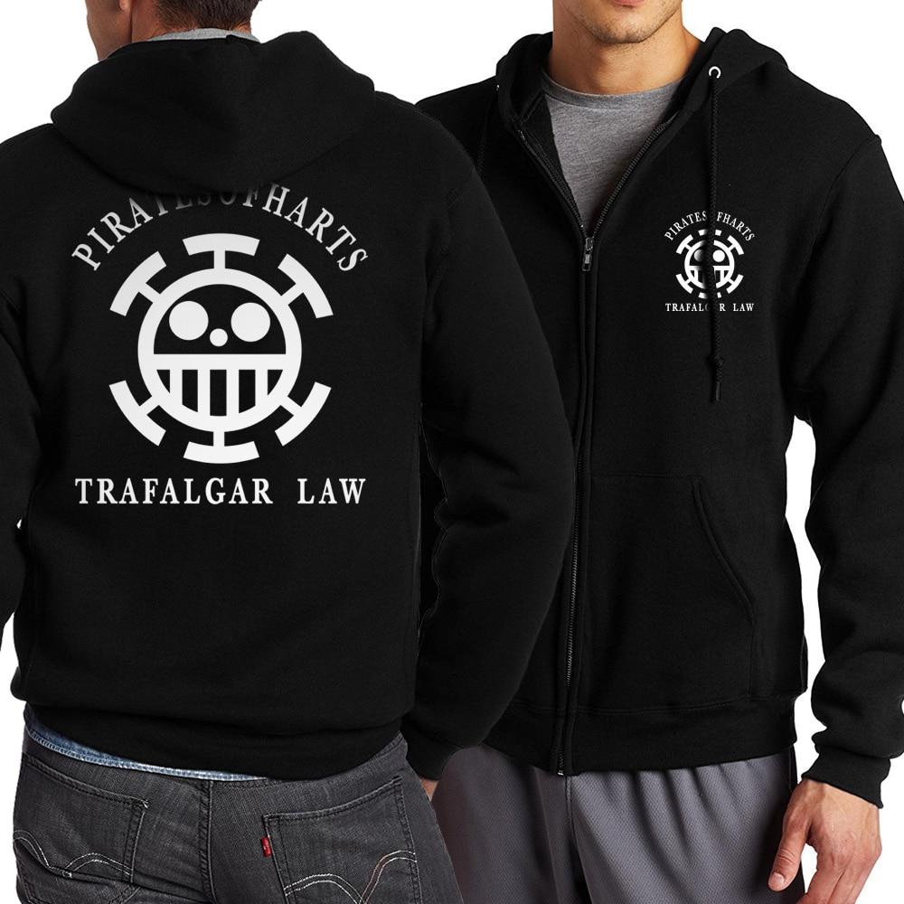 2019 Men's Sportswear Naruto Uzumaki One Piece Akatsuki Trafalgar Law Hip Hop Fashion Anime Sweatshirts Zipper Fleece Streetwear